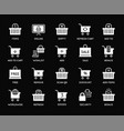 set shopping cart and basket icons online food vector image