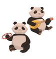 set two cute pandas playing musical vector image vector image