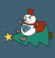 super snowman flying christmas tree cartoon vector image vector image