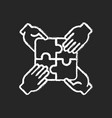 teamwork building chalk white icon on black vector image vector image