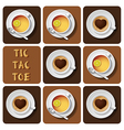 Tic-Tac-Toe of cappuccino and tea vector image vector image