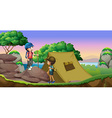 Two kids camping out by the lake vector image vector image