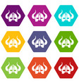 viking helmet icons set 9 vector image vector image