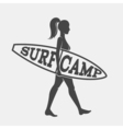 Woman goes surfing with surfboard Surf camp logo vector image