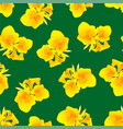 yellow canna lily on green background vector image vector image
