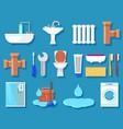 plumbing icons for bathroom vector image