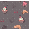 Seamless pattern with cupcakes and croissants in vector image