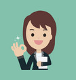 young businesswoman show ok sign and holding vector image
