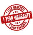 1 year warranty round red grunge stamp vector image vector image