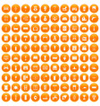 100 home icons set orange vector image vector image