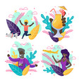 afro-american people on greeting invitation set vector image