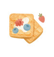 appetizing waffles with blueberry raspberry vector image vector image