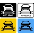 auto service icons set with car and spanner vector image vector image