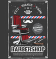 barbershop chair and shave razor retro poster vector image vector image