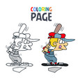 baseball people cartoon coloring page vector image