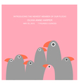 birth announcement with funny birds vector image