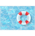 bright lifebuoy lies on water in a blue pool vector image
