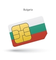 Bulgaria mobile phone sim card with flag vector image vector image
