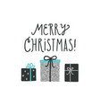 christmas greeting card with cute gifts vector image vector image