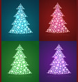 christmas trees a set of twinkling holiday vector image vector image