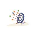colorful arrow hitting target mark vector image