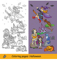 coloring halloween mummy and witch vector image
