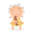 cute cartoon curly baby girl in yellow dress vector image vector image