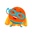 cute cartoon smiling orange superhero in mask and vector image vector image
