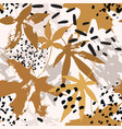 drawing falling leaves ink doodle grunge vector image