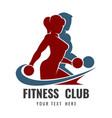 fitness club logo with training bodybuilders vector image