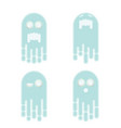 floating ghost emoji icon set vector image