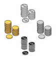 golden coins icon in cartoonblack style isolated vector image vector image