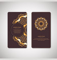 golden floral ornamental cards with oriental vector image vector image