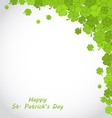 Greeting Background with Clovers for St Patricks vector image vector image