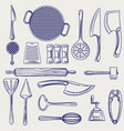 hand drawn cutlery collection sketch vector image vector image