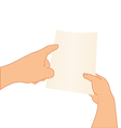 hands holding and pointing to paper vector image