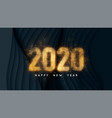 happy new year 2020 dark background with paper vector image