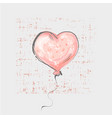 heart balloon on grunge background cute childish vector image vector image