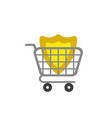 icon concept of guard shield inside shopping cart vector image vector image