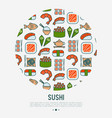 japanese food circle concept with thin line icons vector image