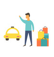 man after shopping waiting for a taxi vector image