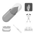 medicine and treatment monochrome icons in set vector image vector image