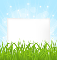 Natural card with green grass and paper sheet vector image vector image