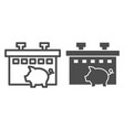 pig farm line and glyph icon animal vector image vector image
