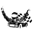 racing car with checker vector image vector image