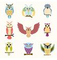 set nine cartoon colorful owls vector image vector image