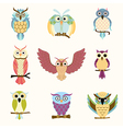 Set of nine cartoon colorful owls vector image