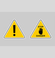set of warning - icon warning yellow sign vector image