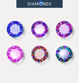 Set realistic diamond with reflex glare and shadow vector image vector image