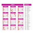 Simple calendar 2017 marked with the official vector image vector image